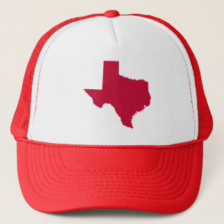 Texas in Red Trucker Hat