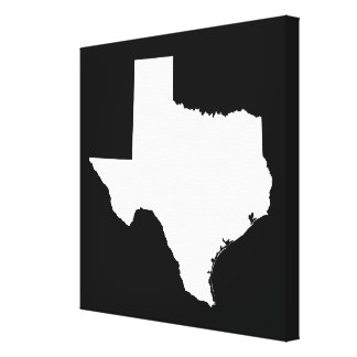 Texas in White and Black Gallery Wrapped Canvas