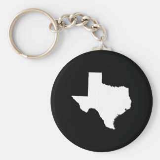 Texas in White and Black Key Ring