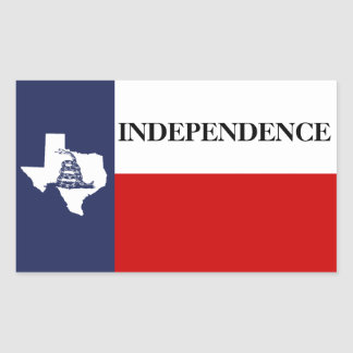 Texas Independence - Lone Star Flag Gadsden Rectangle Stickers