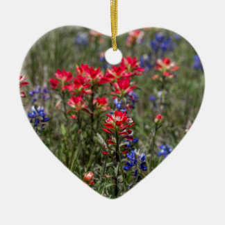 Texas Indian Paintbrush and Bluebonnet Wildflowers Christmas Ornament