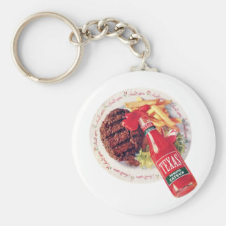 Texas Ketchup Burger and Fries Basic Round Button Key Ring