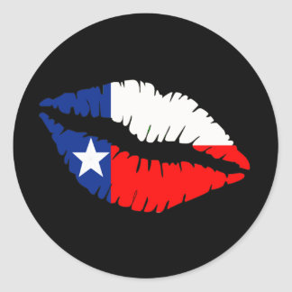 Texas Lips Round Stickers