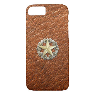 Texas Lone Star Concho on Brown Leather look iPhone 8/7 Case