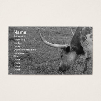 Texas Longhorn black and white business card