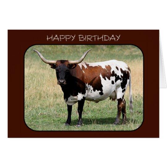 Texas Longhorn Cow Happy Birthday Card
