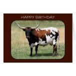 Texas Longhorn Cow Happy Birthday Greeting Card