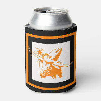 Texas Longhorn Steer With Cowboy Hat Can Cooler