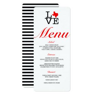 Texas Love Menu Card