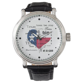 Texas Love-Word cloud+Heart Shaped Flag Watch