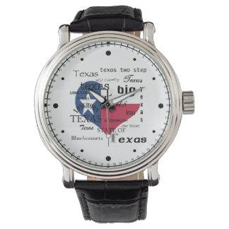 Texas Love-Word cloud+Heart Shaped Flag Wrist Watches