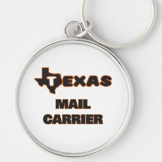 Texas Mail Carrier Silver-Colored Round Key Ring