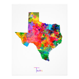 Texas Map 21.5 Cm X 28 Cm Flyer