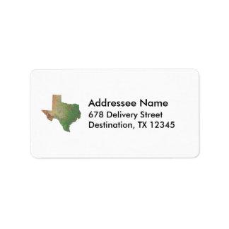 Texas Map Address Label
