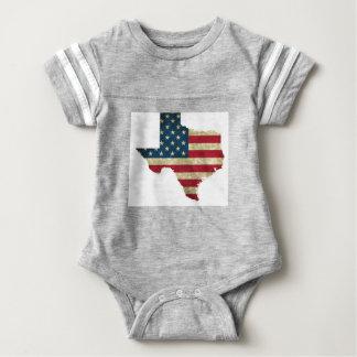 Texas map American flag Baby Bodysuit