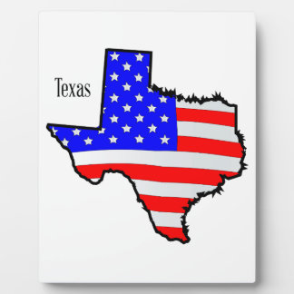 Texas Map and Flag Display Plaque