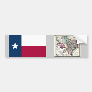 Texas Map and State Flag Bumper Sticker