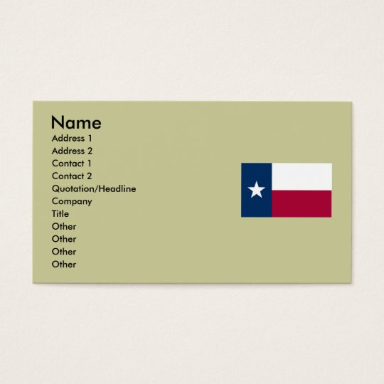 Texas Map and State Flag Business Card