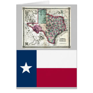 Texas Map and State Flag Card