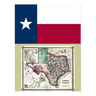 Texas Map and State Flag Postcards