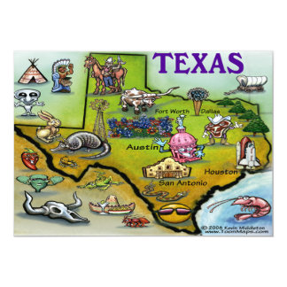 TEXAS Map Card 13 Cm X 18 Cm Invitation Card