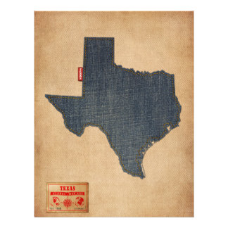 Texas Map Denim Jeans Style 21.5 Cm X 28 Cm Flyer