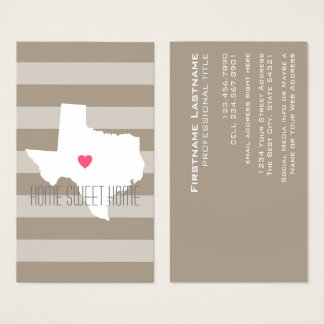 Texas Map Home State Love with Custom Heart Business Card