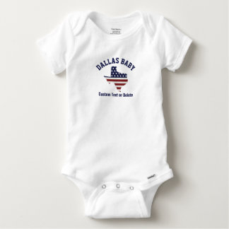 Texas Map | Patriotic USA Flag | Your City or Text Baby Onesie