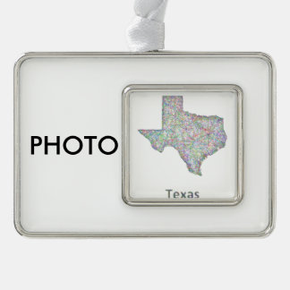 Texas map silver plated framed ornament