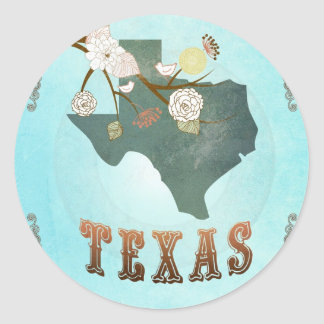 Texas Map With Lovely Birds Round Sticker