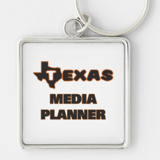 Texas Media Planner Silver-Colored Square Key Ring