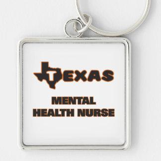 Texas Mental Health Nurse Silver-Colored Square Key Ring
