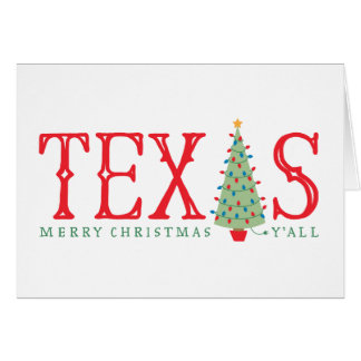 Texas Merry Christmas Tree Greeting Card