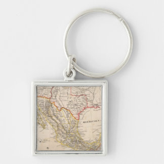 Texas, Mexico Silver-Colored Square Key Ring