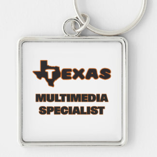 Texas Multimedia Specialist Silver-Colored Square Key Ring