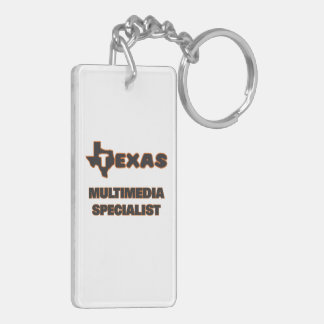 Texas Multimedia Specialist Double-Sided Rectangular Acrylic Key Ring