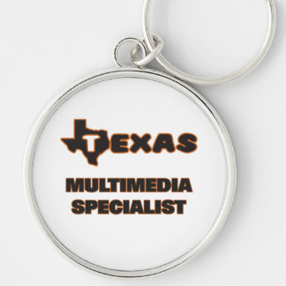 Texas Multimedia Specialist Silver-Colored Round Key Ring