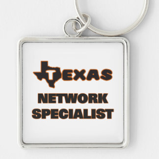 Texas Network Specialist Silver-Colored Square Key Ring