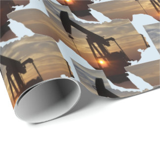 Texas Oil Pump Jack At Sunset  Gift Wrapping Paper