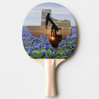 Texas Oil Pump Jack At Sunset On Bluebonnets