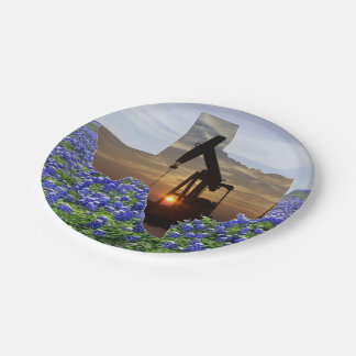 Texas Oil Pump Jack At Sunset On Bluebonnets 7 Inch Paper Plate