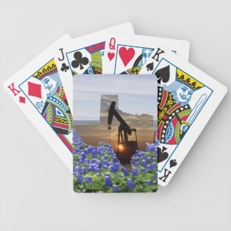 Texas Oil Pump Jack At Sunset On Bluebonnets Bicycle Playing Cards