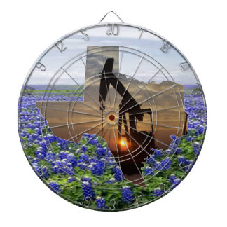 Texas Oil Pump Jack At Sunset On Bluebonnets Dart Boards