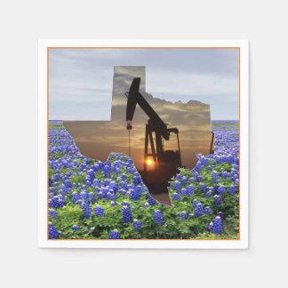 Texas Oil Pump Jack At Sunset On Bluebonnets  Napk Disposable Serviette