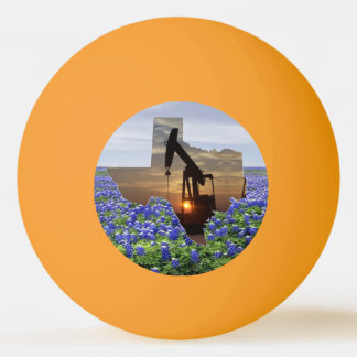 Texas Oil Pump Jack At Sunset On Bluebonnets Ping Pong Ball