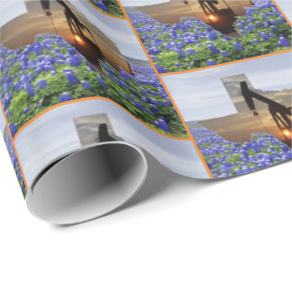 Texas Oil Pump Jack At Sunset On Bluebonnets Wrapping Paper