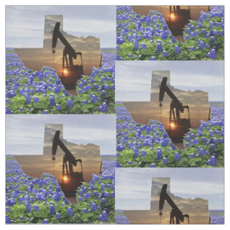"Texas Oil Pump Jack Sunset and Bluebonnets 4.5"" Fabric"