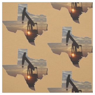 "Texas Oil Pump Jack Sunset On ANY COLOR  4.5"" Fabric"