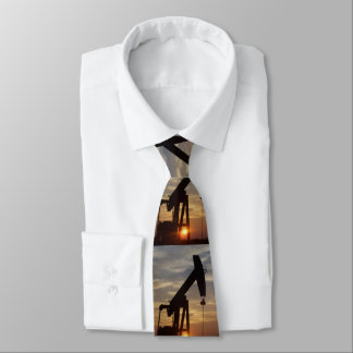 Texas Oil Pumping At Sunset Tie