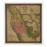 Texas, Oregon & California Map - 1846 Poster